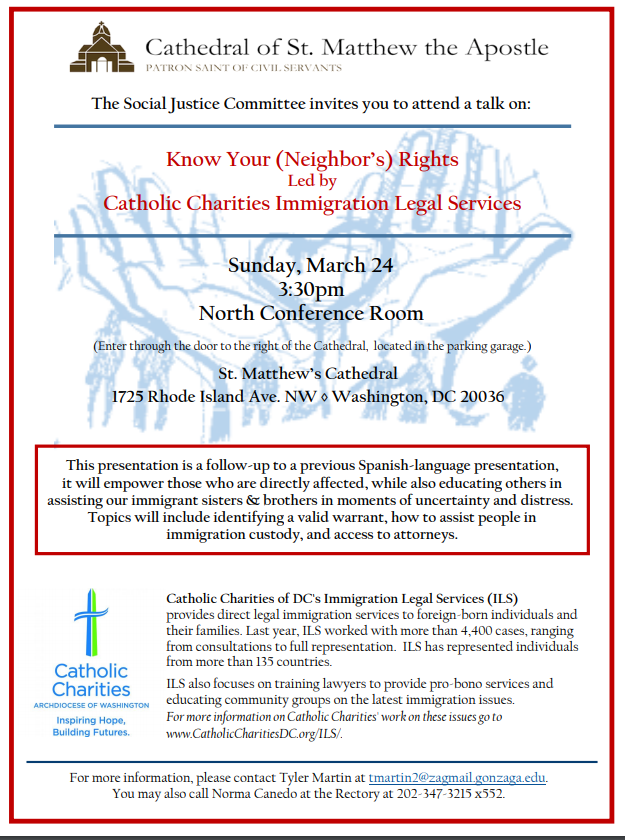 Immigration Rights Presentation Cathedral Of St Matthew The
