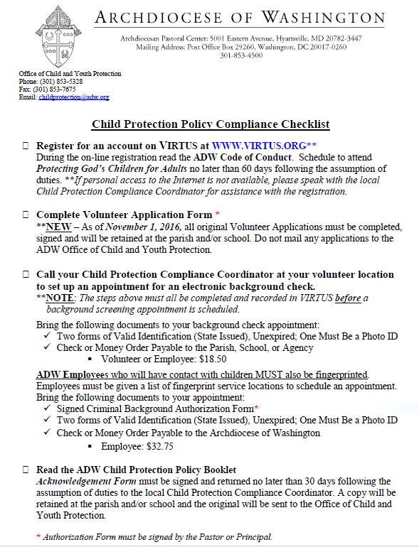 child protection policy compliance checklist for volunteers