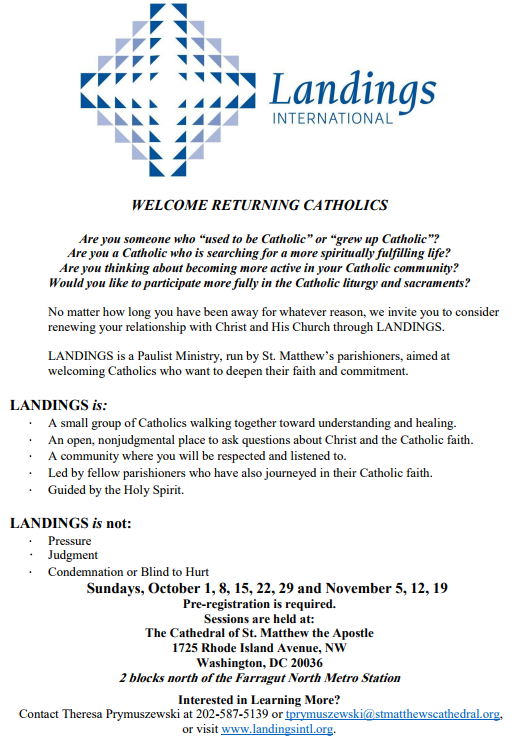 Landings - Welcome Returning Catholics | Cathedral of St